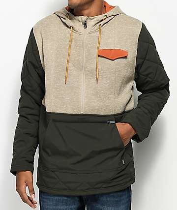 Dravus Tristan Khaki & Green Half Zip Tech Fleece Hoodie