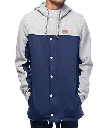 Dravus Ultralight Navy & Heather Grey Snap Hoodie