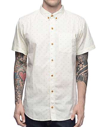 Dravus Vanilla Natural Foulard Short Sleeve Button Up Shirt