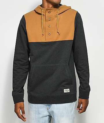 Dravus Weekender Henley Hooded Khaki & Charcoal Shirt