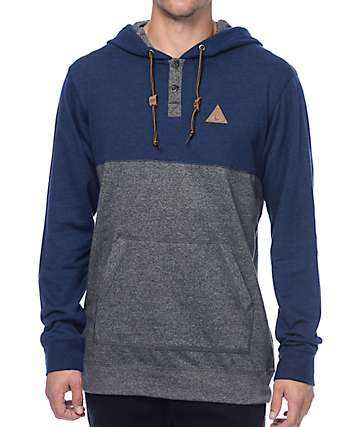 Dravus Wherever U Go Navy & Grey Hooded Henley Long Sleeve T-Shirt