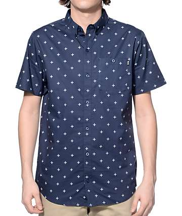 Dravus Williamsburg Navy Foulard Button Up Shirt