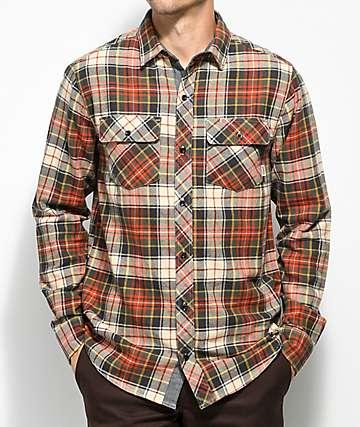 Dravus Willis camisa de franela en rojo, crema y dorado