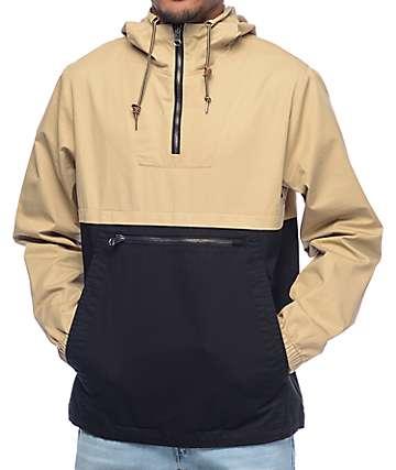 Dravus Winds chaqueta anorak en negro y color caqui