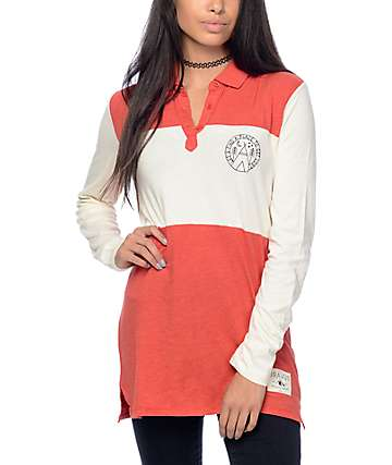 Dravus Yolo Red & Cream Colorblock Polo Shirt