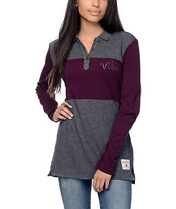 Dravus Yolo Vibes Blackberry & Charcoal Colorblock Polo Shirt