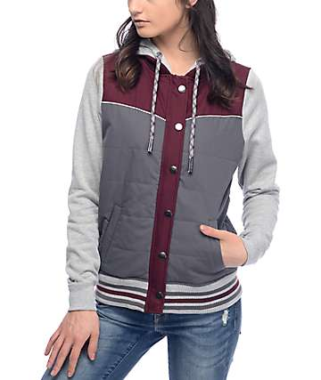 Dravus Zellie Burgundy, Charcoal & Heather Grey Quilted Jacket