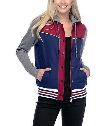 Dravus Zellie Red, Navy, & Charcoal Quilted Jacket