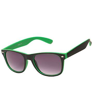 Dream On Classic Black & Green Sunglasses