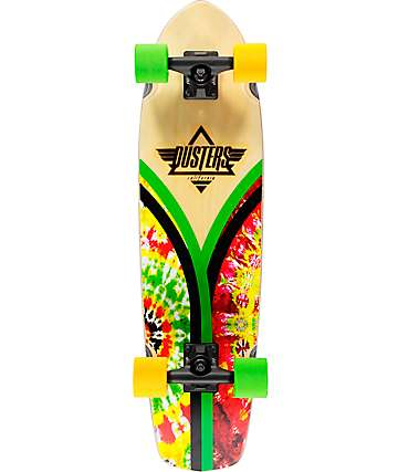 "Dusters Flashback Rasta Tie Dye 31"" Cruiser Complete Skateboard"