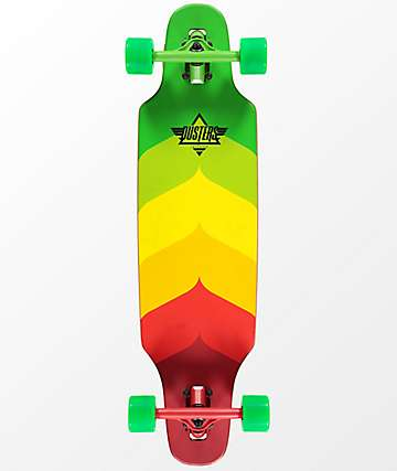 "Dusters Mini Wake Rasta 32"" drop through longboard completo"