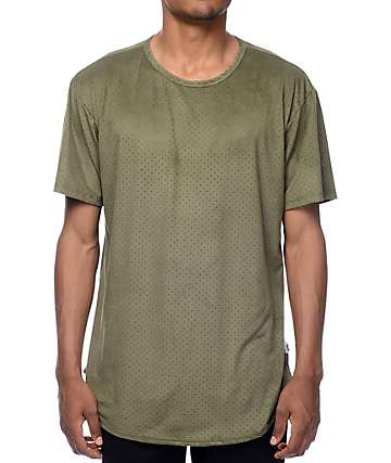 EPTM Perforated Suede Elongated Olive T-Shirt