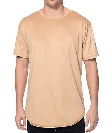 EPTM Suede Elongated Tan Long T-Shirt