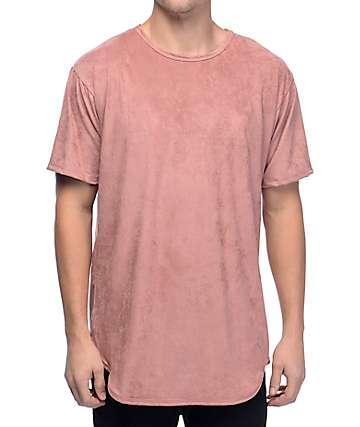 EPTM Suede camiseta alargada de ante falso en rosa