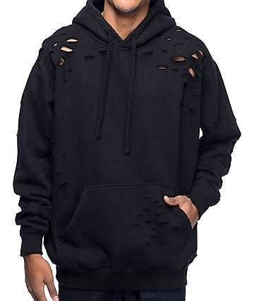EPTM Thrashed sudadera negra con capucha
