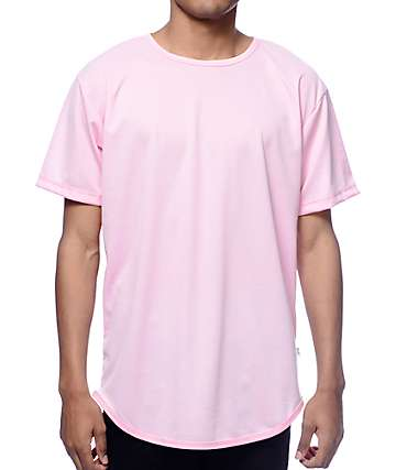 EPTM. Dimpled Mesh Pink Long T-Shirt