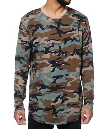 EPTM. Elongated Basic Camo Long Sleeve Long T-Shirt
