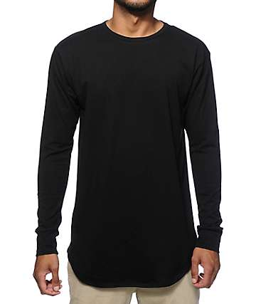 EPTM. Elongated Basic Drop Tail Long Sleeve T-Shirt