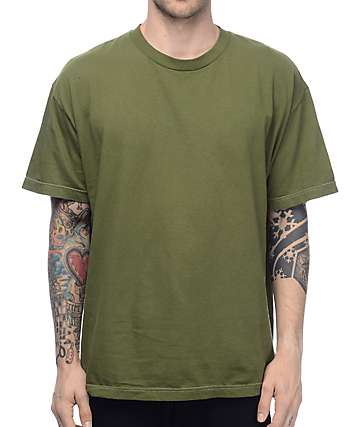 EPTM. Embroidery Rose camiseta en color olivo