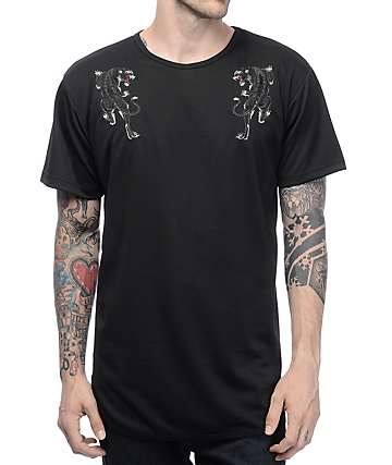 EPTM. Embroidery Souvenir Tiger Black Elongated T-Shirt