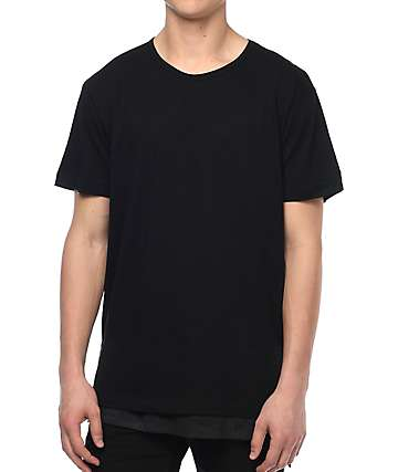 EPTM. Faux Layer SQ Bottom Black Elongated T-Shirt