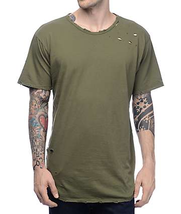 EPTM. LT Thrashed OG Olive Elongated T-Shirt