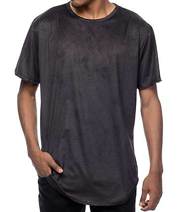 EPTM. Perforated Suede Elongated Black T-Shirt