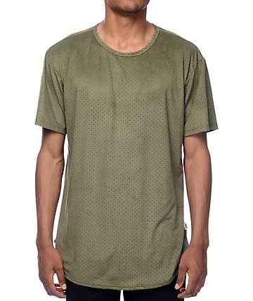 EPTM. Perforated Suede camiseta alargada en color olivo