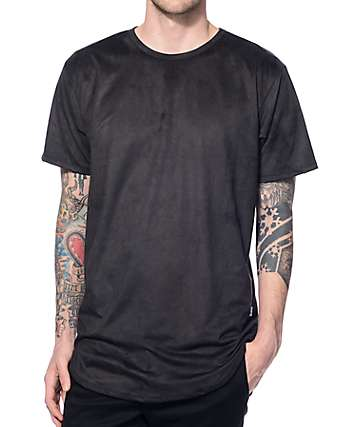 EPTM. Suede Elongated Black Long T-Shirt