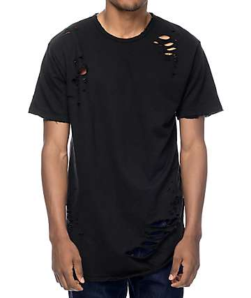 EPTM. Thrashed Elongated Black T-Shirt