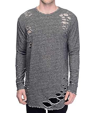 EPTM. Thrashed Elongated Charcoal Shirt