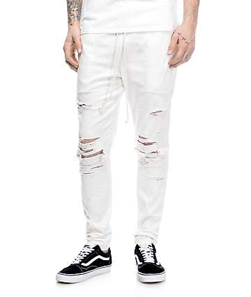 EPTM. Thrashed White Twill Pants
