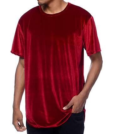 EPTM. Velour OG camiseta alargada en color borgoño