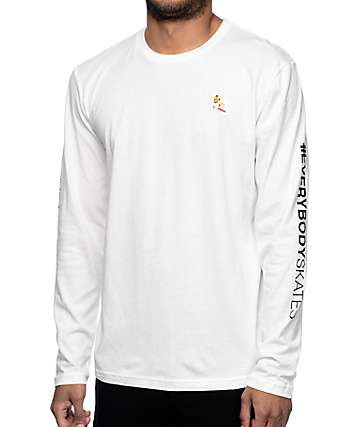 EVERYBODYSKATES Boxer Embroidery White Long Sleeve T-Shirt