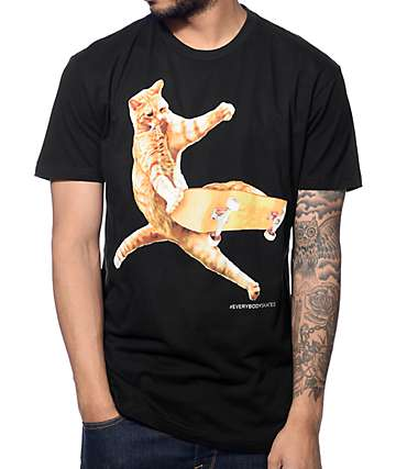 EVERYBODYSKATES Cat Black T-Shirt
