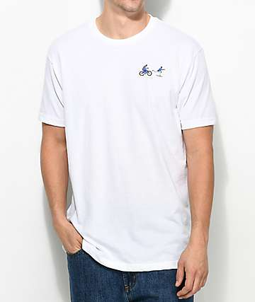 EVERYBODYSKATES Chase Embroidered White T-Shirt