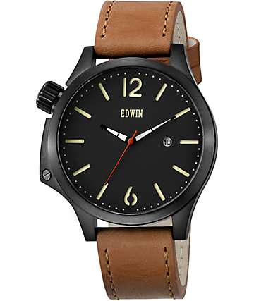 Edwin Brook Light Brown Leather Watch