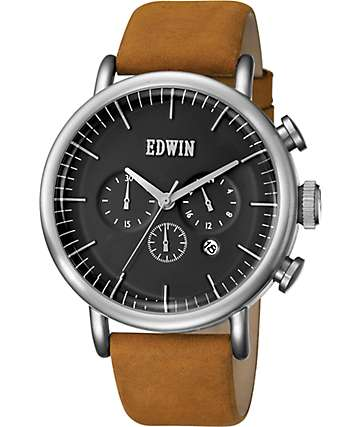 Edwin Element Dark Brown Leather & Silver Watch