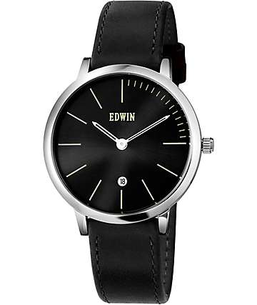 Edwin Kenny-Gents Black Leather Watch
