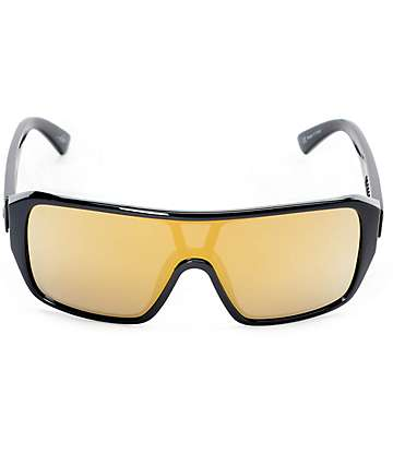 Electric Blast Shield Black & Gold Chrome Sunglasses