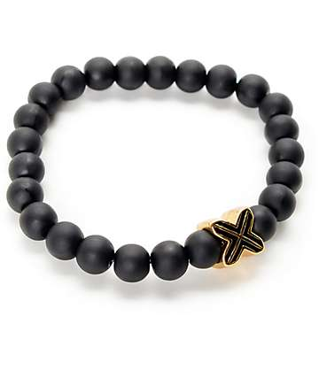 Electric Family Gold X Black Beaded Bracelet