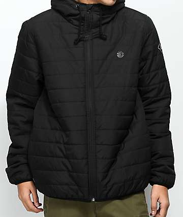 Element Alder Travel Well Flint Black Puffer Jacket