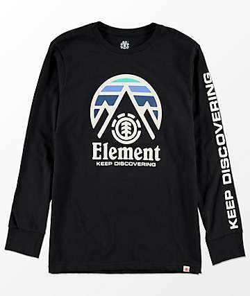 Element Boys Tri Tip Black Long Sleeve T-Shirt