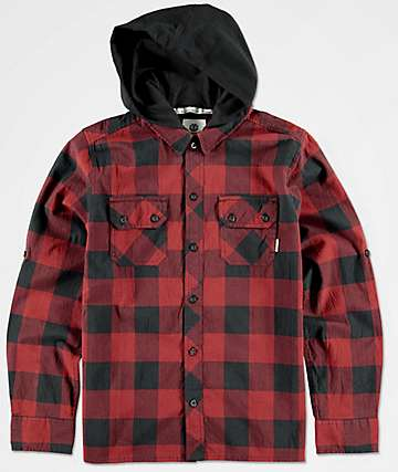 Element Boys Westchase Hooded Flannel Shirt