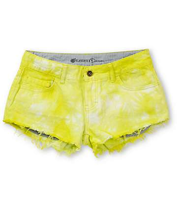 Element Descent Yellow Tie Dye Cut Off Shorts