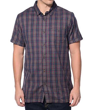 Element Desperado Navy Plaid Button Up Shirt