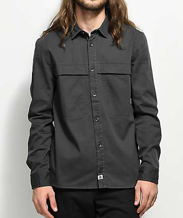 Element Greater Asphalt Woven Button Up Shirt