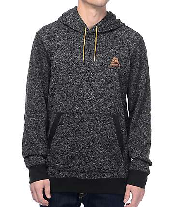 Element Highland Henley Flint Black Fleece Pullover Hoodie