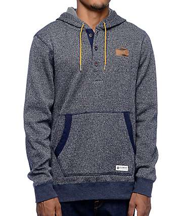 Element Highland Henley Navy Pullover Hoodie