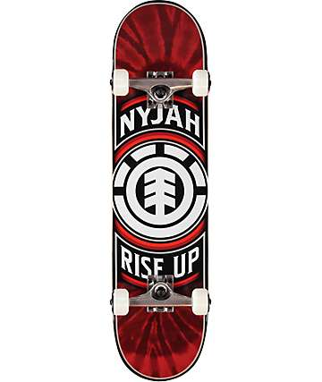 "Element Nyjah Rise Up 7.8"" skate completo en rojo"